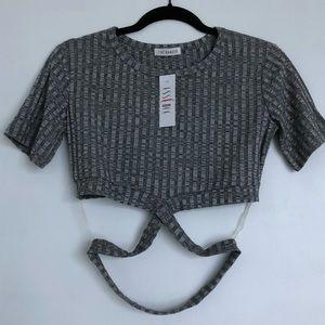 Grey crop top with crisscross